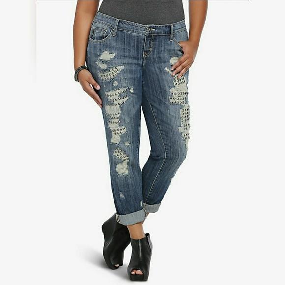 332eae5c19e Torrid destroyed studded boyfriend jeans size 16. M 5a62ec42d39ca2bbee17912a